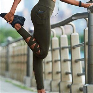 Victoria's Sport Black Knockout Tights leg Cutout